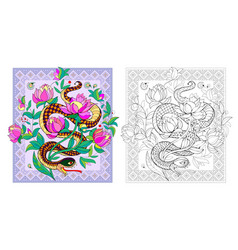 Colorful and black and white page for coloring vector