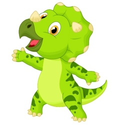 Cute baby triceratops cartoon vector image