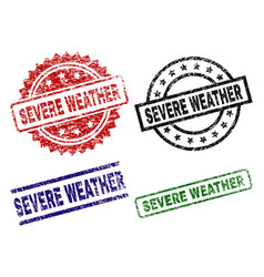 Damaged textured severe weather seal stamps vector