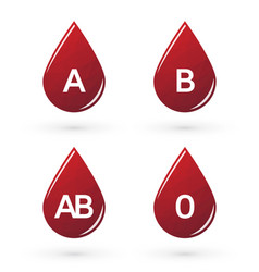 drops of blood with triangles labeled blood type vector image