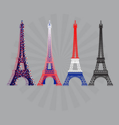 eiffel tower icons set vector image