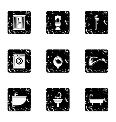 Equipment for bathroom icons set grunge style vector