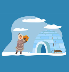 Eskimo with musical instrument igloo house vector