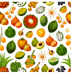 Exotic fruits tropical seamless pattern vector
