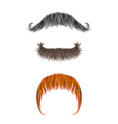 fake hand drawn mustaches collection of moustache vector image
