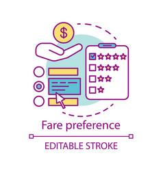 Fare preference concept icon transportation costs vector