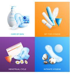 Feminine hygiene concept icons set vector