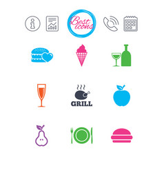 Food drink icons alcohol and burger signs vector