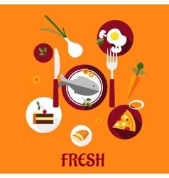 Fresh food flat design vector image