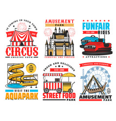 Funfair and amusement park attraction icons vector