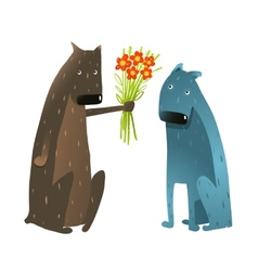 Funny Dog in Love Presenting Flowers to Friend vector image