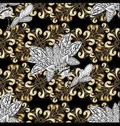 golden seamless pattern golden pattern on black vector image