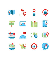 gps map and navigation icons collection vector image