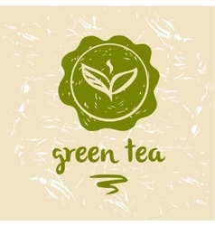 Green tea logo and package Grange background vector image
