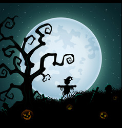 Halloween background with scary scarecrow on the f vector