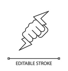 hand holding lightning bolt linear icon vector image