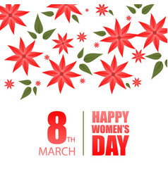 happy womens day typography with flowers design vector image