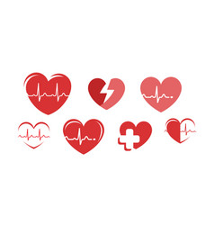 Health logo heart pharmacy hospital symbol vector