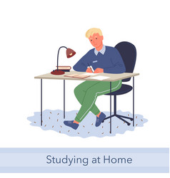 Home education knowledge concept young man vector