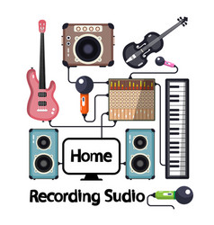 Home recording studio with musical instruments vector