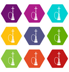 hookah icon set color hexahedron vector image