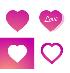 icon pink heart - sticker with love symbol on vector image