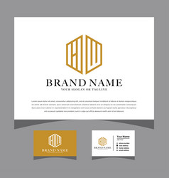 Initials hw logo with a business card vector