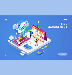 isometric banner for time management or schedule vector image