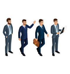 Isometry icons emotions of men 3d business men vector