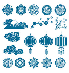 Japanese and chinese asian motif decor vector