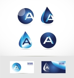 Letter A logo water drop vector