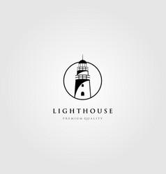 Line art lighthouse logo tower in circle frame vector