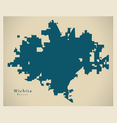 Modern map - wichita kansas city of the usa vector