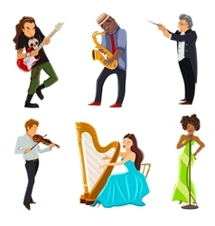 Musicians flat icons set vector image