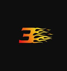 Number 3 burning flame logo design template vector