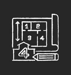 Number rooms chalk white icon on black vector