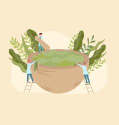 Organic medicine concept with doctors herbal bio vector