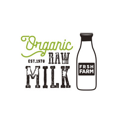 organic raw milk poster farm fresh products vector image