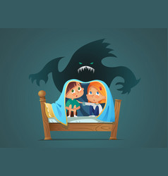 Pair of scared children sitting on bed and hiding vector