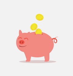piggy bank save money feeling happy vector image