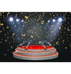 Podium with light and confetti vector