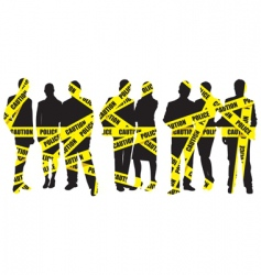 police caution tape with people vector image