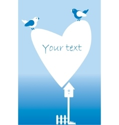 Postcard invitation with heart fence birds vector image