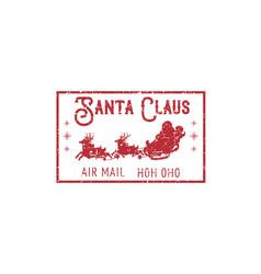 Postmark with santa in sleigh on deers vector