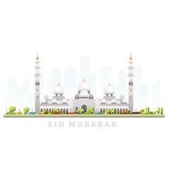 Ramadhan kareem eid mubarak greetings with grand vector