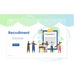 Recruitment website landing page design vector