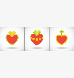 Sacred hearts flat icons vector