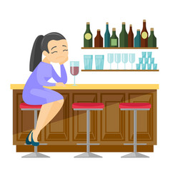 Sad caucasian white woman drinking wine in a bar vector