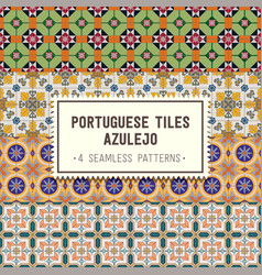 Seamless patterns set with portuguese tiles vector