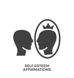 Self esteem affirmations glyph icon vector